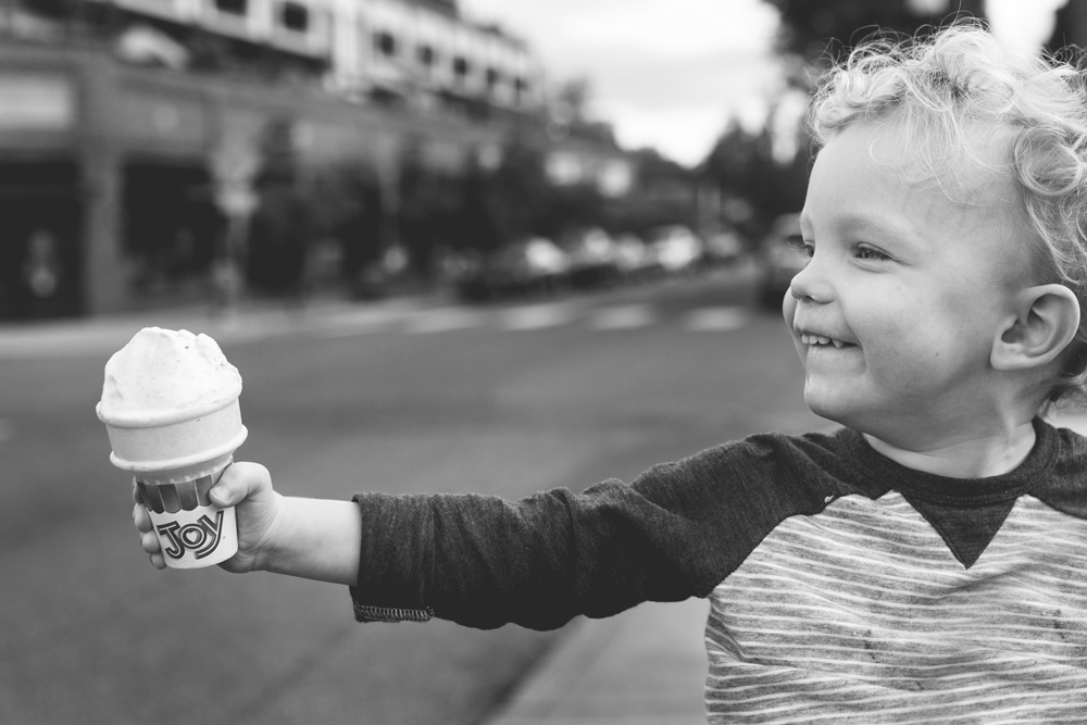 Portland documentary family photography - toddler with ice cream