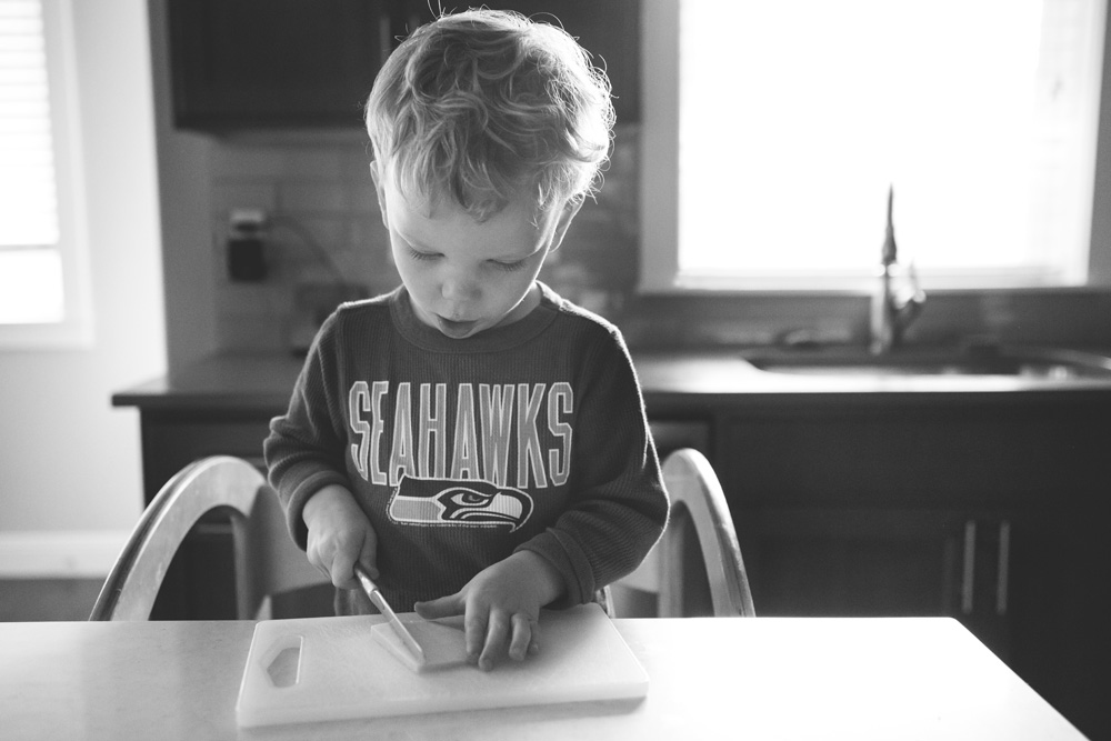Portland documentary family photography kid making lunch